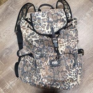 Victoria's Secret Pink leopard sequin backpack